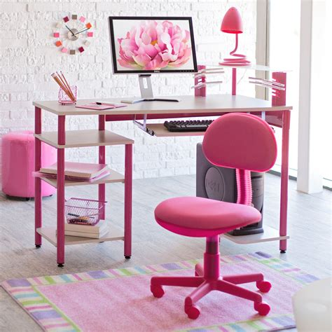 desk pink zap computer desk and chair in pink at hayneedle