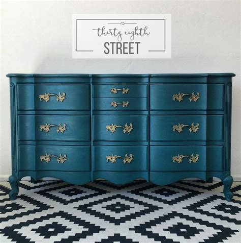 painted furniture painted peacock blue dresser makeover thirty eighth