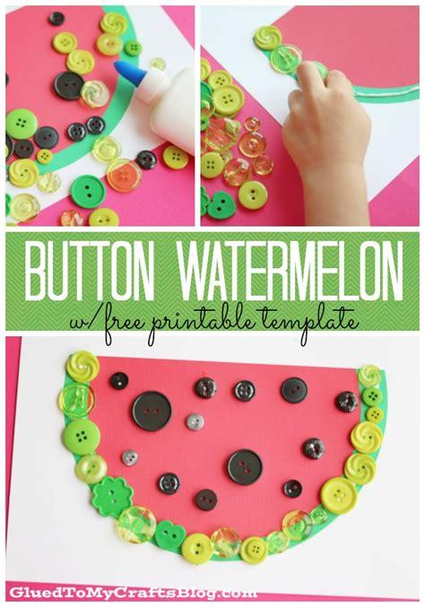 free kid crafts button watermelon kid craft w free printable glued to