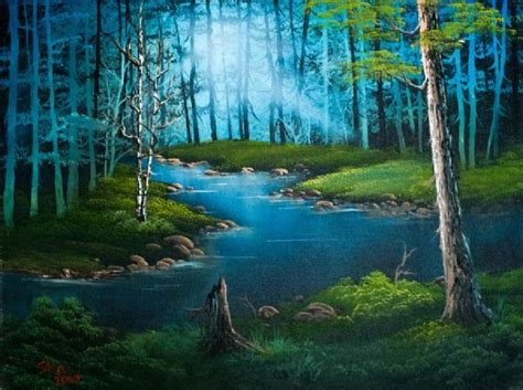 bob ross painting in acrylics bob ross forest river painting trees
