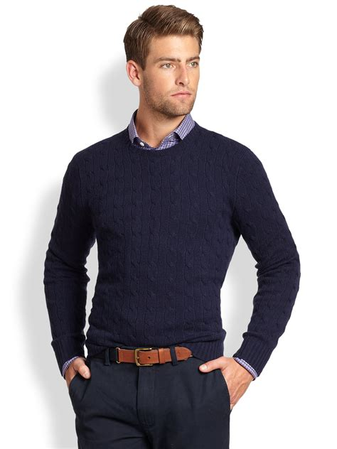 mens sweaters polo ralph cable knit crewneck sweater in