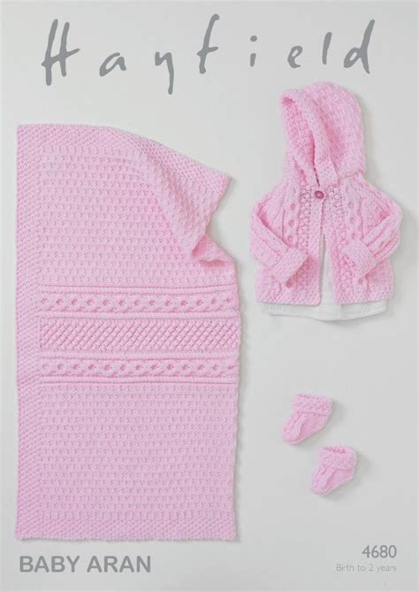 baby aran knitting patterns uk hayfield baby jacket booties blanket knitting pattern
