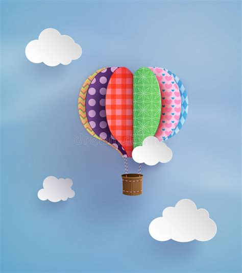 origami air balloon origami made air balloon and cloud stock image image