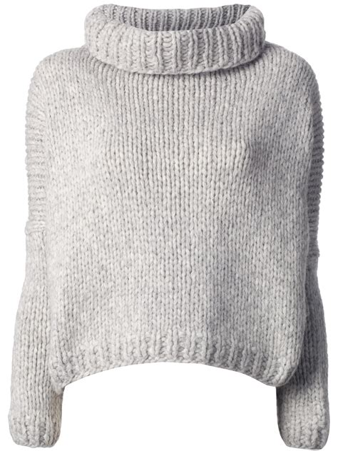 chunky knit sweaters jo no fui chunky knit sweater in gray lyst