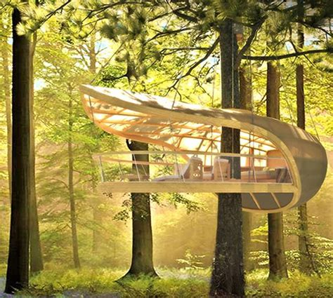 the modern tree sailboat inspired prefab treehouse villa hangs from the
