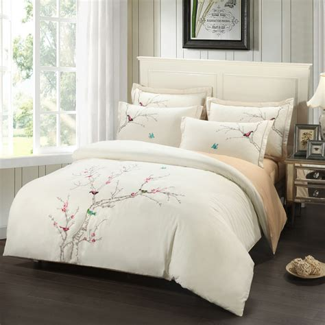 tree bed sets embroidery plum tree magpie birds cotton bedding sets