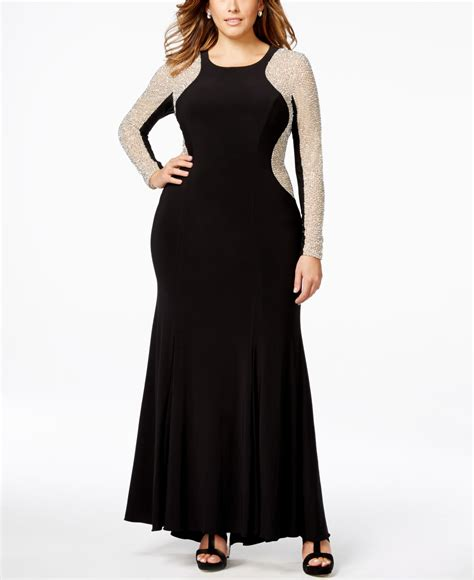 xscape beaded illusion gown xscape plus size beaded illusion hourglass gown in black