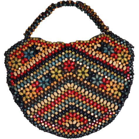 vintage beaded handbags vintage wooden beaded purse handbag sold on ruby