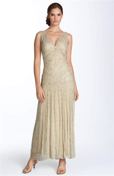 gold beaded gowns pisarro nights beaded mesh gown in gold chagne lyst