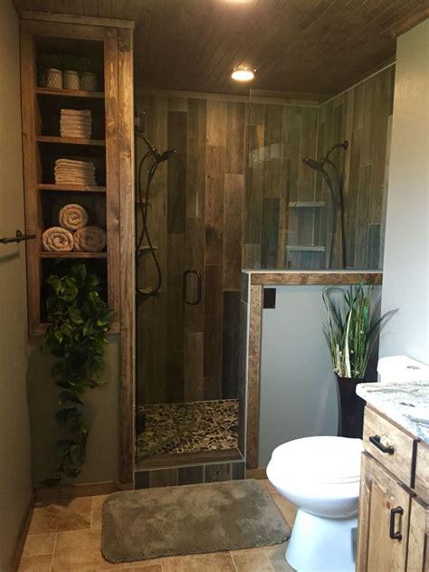 Custom Bathroom Ideas by Rustic Master Bathroom Upgrade Wood Tile Shower Custom