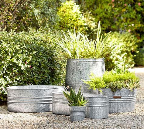 galvanized steel planters eclectic galvanized metal planters pottery barn