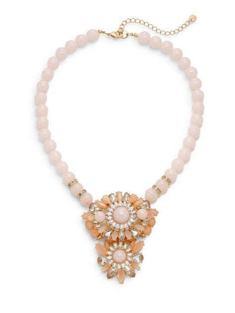 statement beaded necklace lydell nyc beaded cluster statement necklace pink in pink