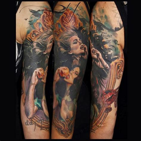 realistic full sleeve tattoo by laura juan design of