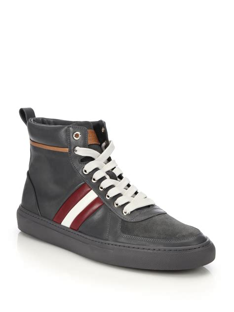 leather high top shoes for bally perforated leather high top sneakers in gray for