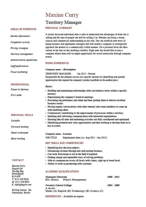 territory manager resume regional job description