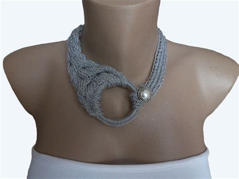 knitting jewelry grey knit choker necklace knit necklace knit crochet by