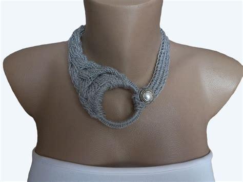knitted necklace grey knit choker necklace knit necklace knit crochet by