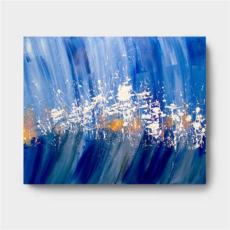 acrylic paint for large canvas blue white and orange acrylic abstract painting 175 00