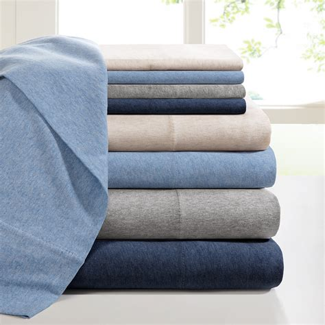 jersey knit sheets ink heathered cotton jersey knit sheet set ebay