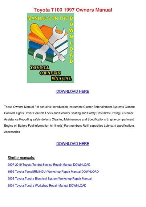 motor repair manual 1997 toyota t100 xtra instrument cluster toyota t100 1997 owners manual by nolaoconnor issuu