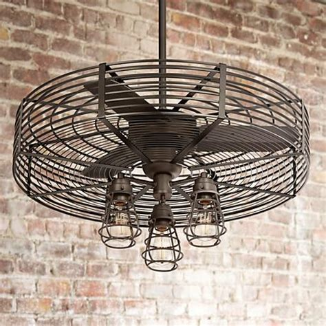 ceiling fan with cage light 32 quot vintage 3 light bendlin cage ceiling fan