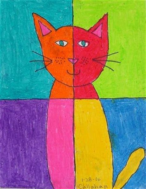 children s painting ideas cat projects for abstract pastel cat