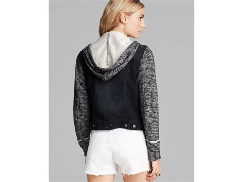 free knit hooded denim jacket free denim and knit hooded jacket in black lyst