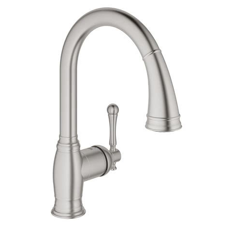 pull kitchen faucets reviews grohe bridgeford single handle pull sprayer kitchen faucet in supersteel infinityfinish