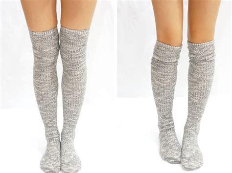knitted knee high socks grey knit knee high socks boot socks on luulla