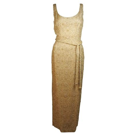 beaded l haute couture int l gold heavily beaded gown with belt
