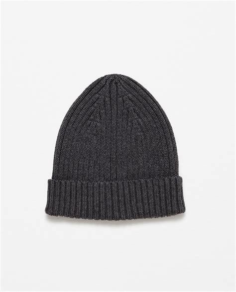 grey knit hat zara rib knit hat in gray for grey lyst