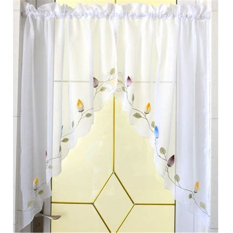 kitchen swag curtains valance 1 pair pastoral chili embroidered kitchen window curtain