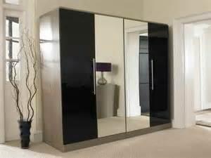 bedroom wardrobe designs with mirror bedroom mirror wardrobe with 4 doors black smooky design