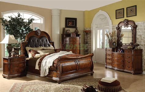 sleigh bedroom furniture sets traditional sleigh bedroom furniture set with leather