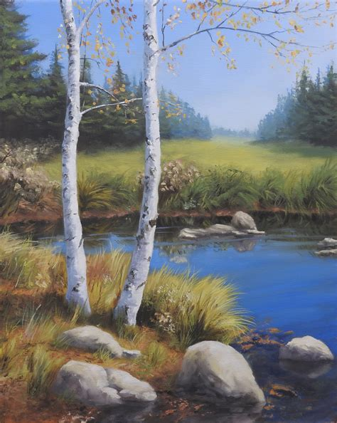 bob ross painting birch trees drawing painting sketchbook by nemo easel journeys