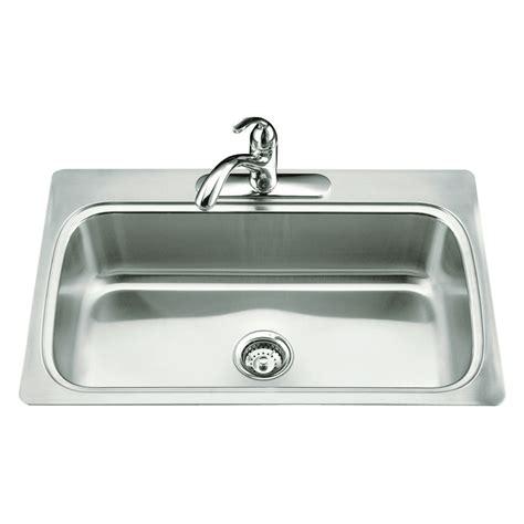kohler stainless kitchen sink shop kohler verse stainless steel single basin drop in