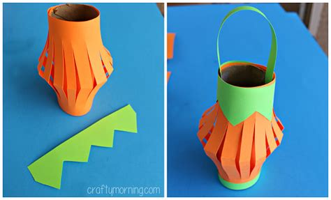 lanterns craft pumpkin toilet paper roll lantern craft crafty morning