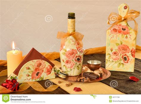 decoupage items decorated with decoupage household items stock photo