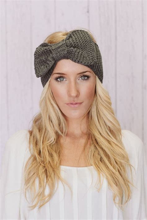 knitted headband with bow knitted bow headband oversized bow ear warmer in gray