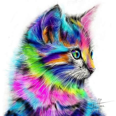rainbow cat painting rainbow cat painting by shaff oceans