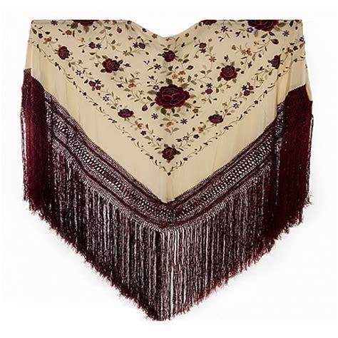 enrejado manton mant 211 n manila flecos grana bordado a mano