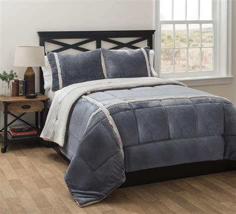 sherpa comforter set charcoal royal plush to sherpa comforter set