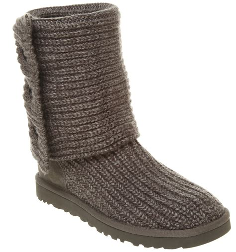uggs grey knit boots womens ugg uggs cardy knitted boot grey marl boots ebay