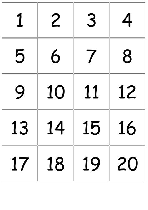 number templates for card 5 best images of printable number cards 1 20 number