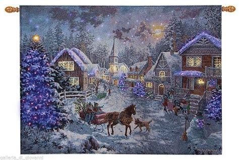 kinkade tapestry sunday evening sleighthomas kinkade fiber optic tapestry