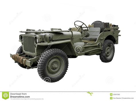 vintage military jeep isolated stock photography image