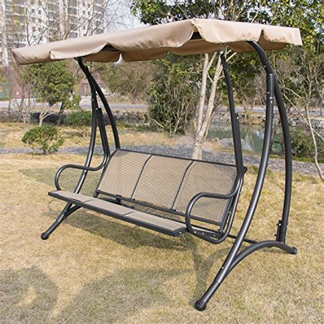 anifox outdoor 3 person canopy swing glider hammock chair