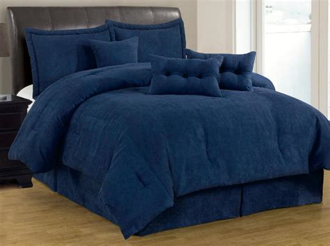 king comforter sets blue 7 pc solid navy blue micro suede comforter set cal king