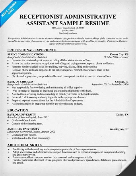 sample resume receptionist administrative assistant free