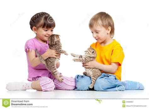 with children children with kittens stock image image